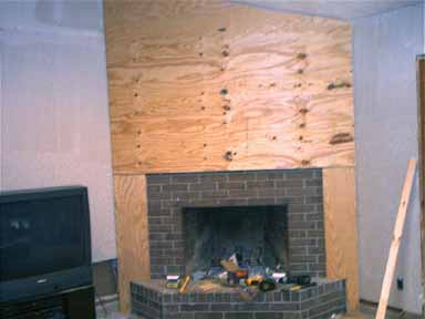 Dwnixon cover a brick fireplace with plywood - How to cover brick fireplace ...